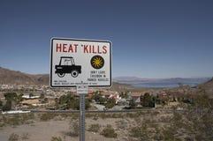 O calor mata o sinal perto do hidromel do lago Imagem de Stock