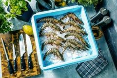 O camarão recentemente pescou e armazenou em umas caixas com gelo fotos de stock royalty free