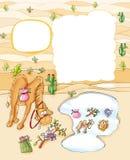 O camelo bebe no lago no deserto com uma formiga do amigo Imagens de Stock
