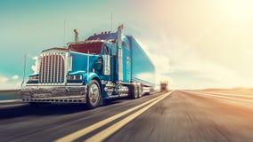 O caminhão corre na estrada ilustração do vetor