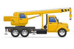 O caminhão da carga com o guindaste para bens de levantamento vector a ilustração Imagem de Stock