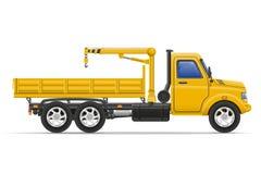 O caminhão da carga com o guindaste para bens de levantamento vector a ilustração Fotos de Stock