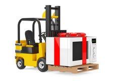 O caminhão de empilhadeira move a micro-ondas Oven Gift com fita e curva vermelhas Foto de Stock Royalty Free