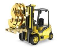 O caminhão de forklift levanta o sinal de dólar do ouro Imagem de Stock Royalty Free
