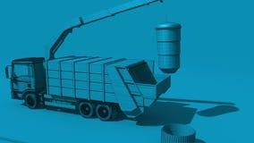 O caminhão de lixo esvaziou o tambor de lixo video estoque