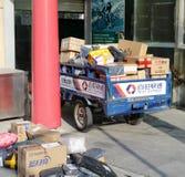 O caminhão de três rodas da melhor entrega expressa, adôbe rgb da motocicleta Imagens de Stock Royalty Free