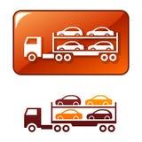 O caminhão entrega os carros. Ícone do vetor Fotos de Stock Royalty Free