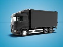 O caminhão preto moderno para o transporte dos bens em torno da cidade 3d rende no fundo azul com sombra ilustração royalty free