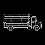 O caminhão que transporta a madeira registra a madeira Foto de Stock