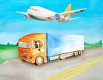 O caminh?o alaranjado da aquarela com um corpo azul leva a carga em uma estrada asfaltada na perspectiva da paisagem do ver?o do  ilustração do vetor