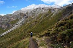 O caminhante aprecia andar no cenário maravilhoso do cume na frente do pico nevado alto Imagens de Stock