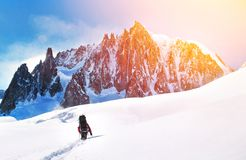 O caminhante com trouxas alcança a cimeira do pico de montanha Succes imagem de stock