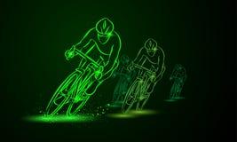 O campeão Front View Competição da bicicleta Grupo de ciclistas ilustração stock