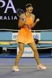 O campeão Maria Sharapova do grand slam de cinco vezes de Rússia comemora a vitória depois que em volta do fósforo 4 no australia Fotografia de Stock Royalty Free