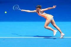 O campeão Maria Sharapova do grand slam de cinco vezes de Rússia na ação durante o fósforo do quartos de final no australiano abr Foto de Stock