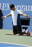 O campeão Mike Bryan do grand slam durante o semifinal 2014 do US Open dobra o fósforo em Billie Jean King National Tennis Center Imagem de Stock