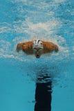 O campeão olímpico Michael Phelps do Estados Unidos compete na mistura do indivíduo dos 200m dos homens do Rio 2016 Jogos Olímpic Foto de Stock