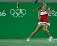 O campeão que olímpico Monica Puig comemora a vitória em mulheres escolhe o final do Rio 2016 Jogos Olímpicos Foto de Stock