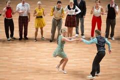 O campeonato de Orld no rock and roll acrobático e no mundo domina a dança-woogie Fotografia de Stock