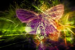 O campo abstrato artístico da energia deu forma como uma borboleta em uma roda ilustração royalty free