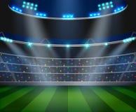 O campo da arena do futebol com luzes brilhantes do estádio projeta ilustração royalty free