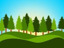 O campo da mola indica troncos e paisagem de árvore ilustração royalty free