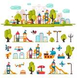 O campo de jogos das crianças tirado em um estilo liso Imagens de Stock Royalty Free