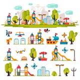 O campo de jogos das crianças tirado em um estilo liso Foto de Stock Royalty Free