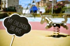 O campo de jogos e text meus sonhos da infância, vignetted Imagem de Stock Royalty Free