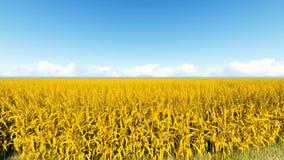 O campo de trigo e o céu 3D tornam capaz de dar laços ilustração stock