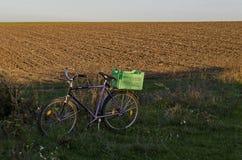 O campo e a bicicleta alqueivados no outono Fotografia de Stock Royalty Free