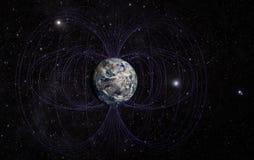 O campo magnético da terra do planeta imagens de stock