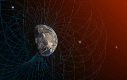 O campo magnético da terra do planeta Foto de Stock
