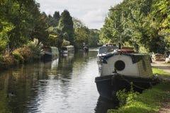 O canal barges no canal grande da união em Rickmansworth em Colne Vall Fotografia de Stock Royalty Free