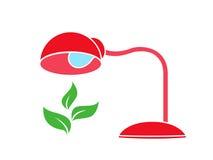 O candeeiro de mesa aquece uma planta verde ilustração do vetor
