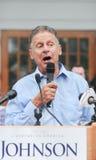 O candidato presidencial Gary Johnson do libertário fala na concórdia, New Hampshire, o 25 de agosto de 2016 Fotos de Stock Royalty Free