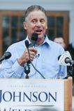 O candidato presidencial Gary Johnson do libertário fala na concórdia, New Hampshire, o 25 de agosto de 2016 Foto de Stock