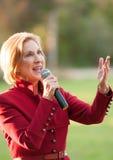 O candidato presidencial republicano Carly Fiorina faz campanha em Bedford, New Hampshire Foto de Stock