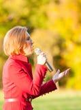 O candidato presidencial republicano Carly Fiorina faz campanha em Bedford, New Hampshire Imagens de Stock