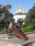 O canhão no Vala antigo Chernihiv ucrânia Fotografia de Stock Royalty Free