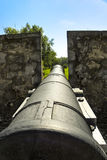 O canhão velho de Fort Erie olha para fora em um campo Foto de Stock Royalty Free