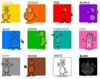 O cano principal colore o grupo educacional dos desenhos animados com estrangeiros Imagens de Stock