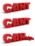 O Cant torna-se pode. Conceito da motivação Fotografia de Stock Royalty Free