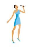 O cantor em um vestido azul Imagens de Stock