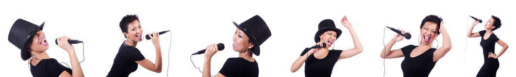 O cantor fêmea afro-americano isolado no branco Fotos de Stock