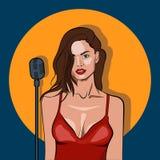 O cantor fêmea no karaoke, o jazz ou os azuis batem o cartaz do concerto da música ao vivo ilustração stock