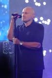 O cantor legendário Phil Collins abre o US Open 2016 que executa seu ` legendário da batida no ` do ar hoje à noite foto de stock royalty free
