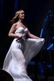 O cantor Valeria executa na fase durante concerto do aniversário do ano de Viktor Drobysh o 50th em Barclay Center Fotografia de Stock Royalty Free