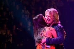 O cantor Zara e Viktor Drobysh executa na fase durante concerto do aniversário do ano de Viktor Drobysh o 50th em Barclay Center Imagens de Stock Royalty Free