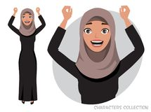 O caráter árabe das mulheres é feliz e sorrir ilustração royalty free